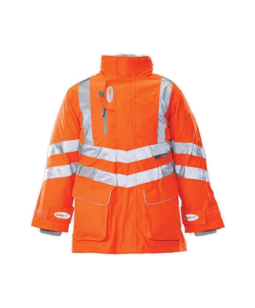 PU Coated Polyester Alexandra Pulsar//Pulsarail STC-SW52OR-2XL 7-In-1 Coat Plain Hi-Vis Orange Size: 2X-Large