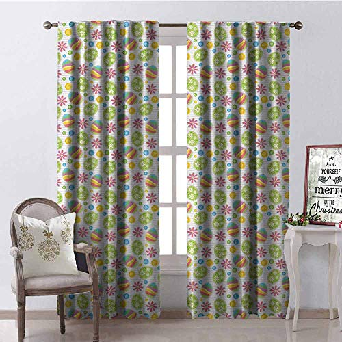 GloriaJohnson Easter Wear-Resistant Color Curtain Patchwork Style Graphic Scrapbook Pattern with Daisy Sewing Buttons and Egg Figures Waterproof Fabric W52 x L84 Inch Multicolor