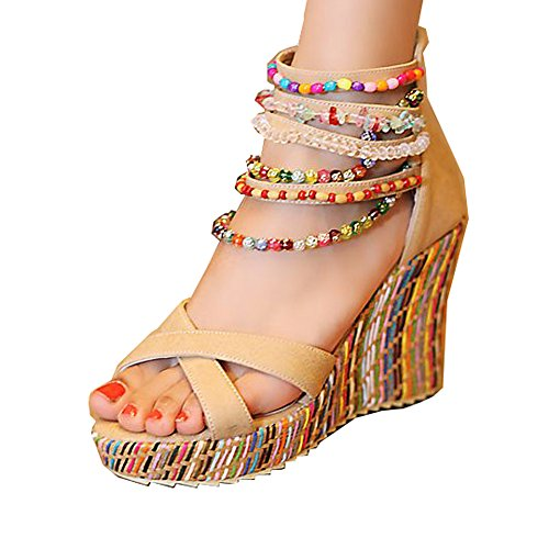 Getmorebeauty Women's Wedge Sandals Pearls Across The Top Platform High Heels