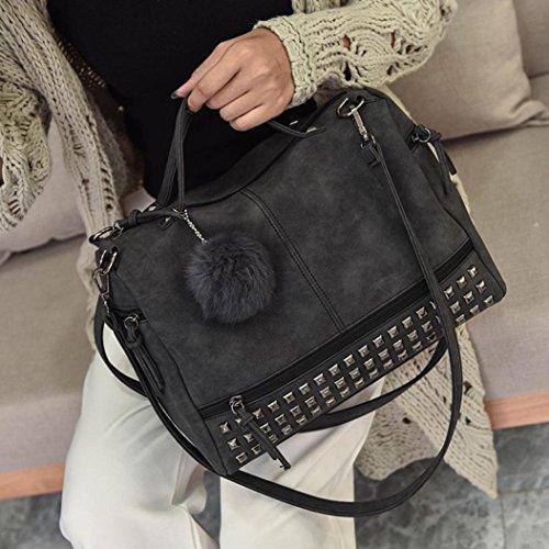Large Capacity Shoulder Satchel Rakkiss Travel Large Leather Handbag Tote Bag Messenger Women Bag Rivet Black vvSgqwz