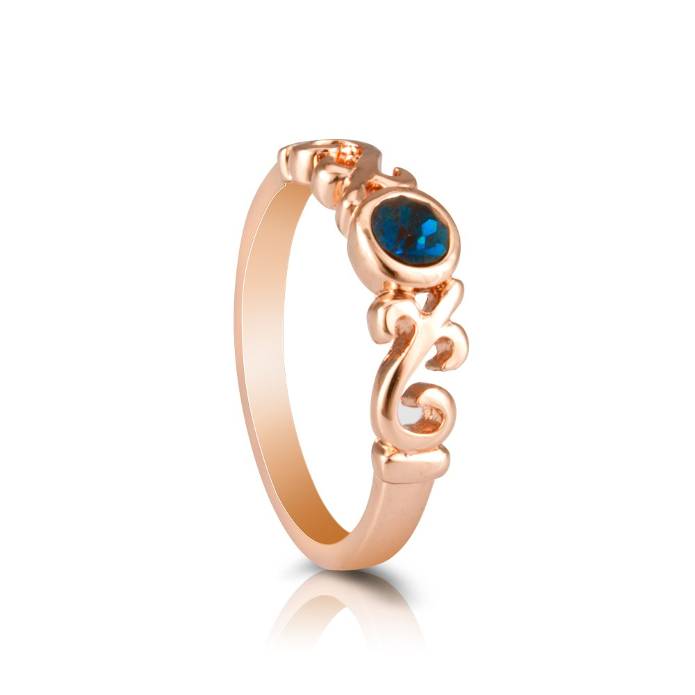Fashion Plaza Women's Rose Gold Tone Fashion Band Ring with Dark Blue Crystal Ring R415 NR415