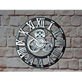 Handmade Clock On The Wall Oversized 40CM (16 inch) 3D Vintage Large Rustic Decorative Luxury (Silver)