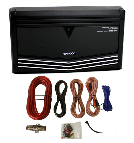 Class Mono Amp (Kenwood KAC-9106D 2000W Monoblock Class D Car Audio Power Amplifier + Amp Kit)