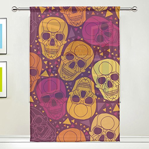Hoodie Dead Grateful Costumes Teen Purple Bear (Sugar Skull Dia De Los Muertos Window Sheer Curtain Panels, 55x84 inch, Gauze Curtain for Living Room Bedroom Home)