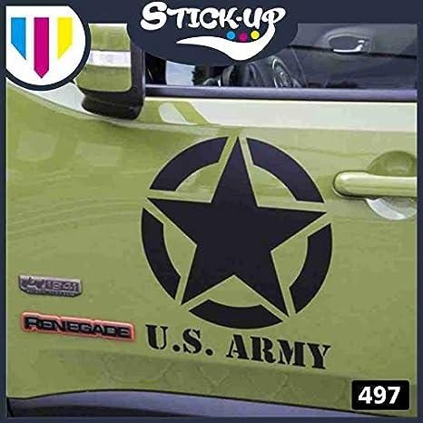 35X35cm 20x20cm-Fuoristrada 4X4 Fiancate Cofano Jeep Suzuki Offroad Adesivi Stickers Fiancate Auto Decal Bianco Lucido 4 Pezzi Stella Militare Vintage Kit Adesivi
