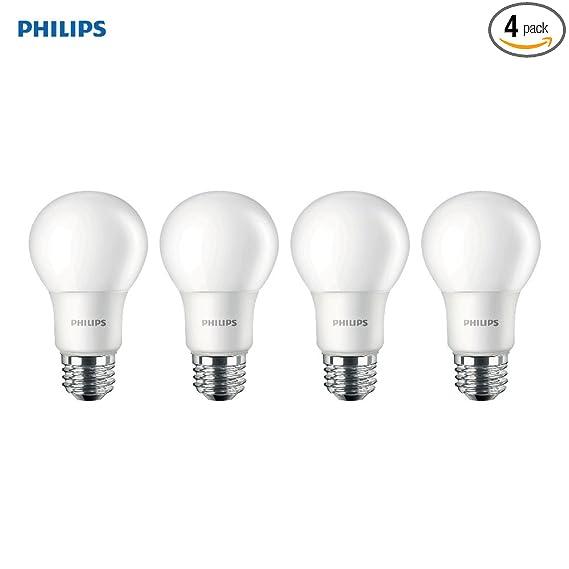 Philips LED Non-Dimmable A19 Frosted Light Bulb: 800-Lumen, 5000-Kelvin, 8-Watt (60-Watt Equivalent), E26 Base, Daylight, 4-Pack