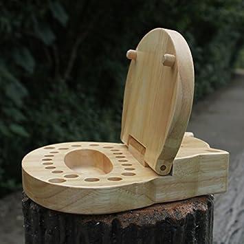 Decent Gadget® duradero dientes del bebé Guardar Cajas de madera de hoja caduca dientes de leche Dientes Box Caja de almacenamiento caja del diente