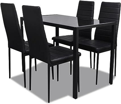 Vidaxl Set Tavolo E Sedie In Similpelle 5 Pz Casa Cucina Nero Set Da Pranzo Amazon It Casa E Cucina