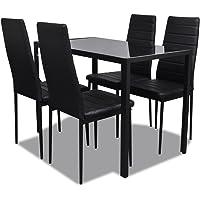 vidaXL Five Piece Dining Table Set Black/Black and White