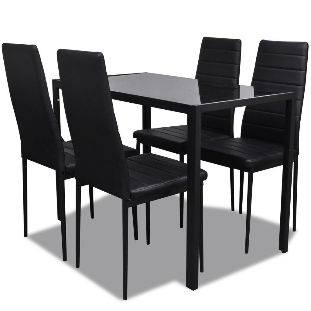 vidaXL Ensemble table et chaises pour salle à manger cuisine cinq pièces noir