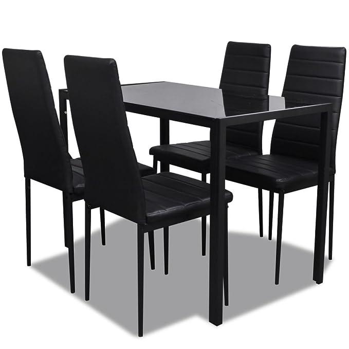 vidaXL Conjunto de Salón Comedor 5 Piezas Negro Juego de Mesa y Sillas Muebles: Amazon.es: Jardín