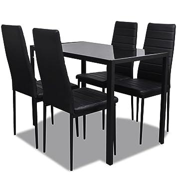 vidaXL Conjunto de Salón Comedor 5 Piezas Negro Juego de Mesa y ...