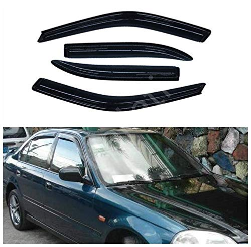 itelleti 4pcs Outside Mount Dark Smoke Sun/Rain Guard Front+Rear Tape-On Auto Window Visors For 96-00 Honda Civic 4-Door - Door 4 Civic 00 Honda