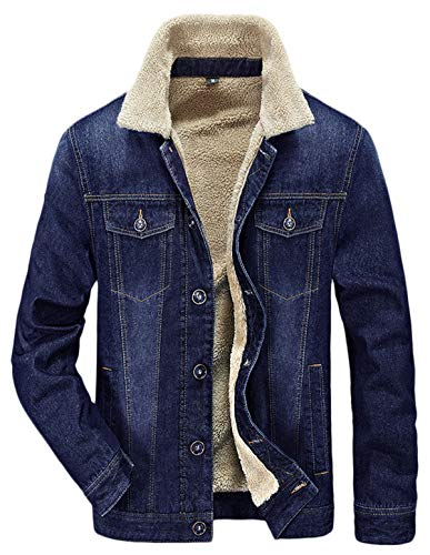 (HOW'ON Men's Plus Cotton Warm Fur Collar Sherpa Lined Denim Jacket Button Down Classy Casual Quilted Jeans Coats Outwear Blue)
