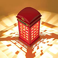 Bedside Lamp LED Night Desk Light - GoTravel2 Vintage London Telephone Booth Design, USB Charging LED Table Lamp Rechargeable LED Table Lamp, Night Light Touch Sensor for Home Decoration (Night Light)