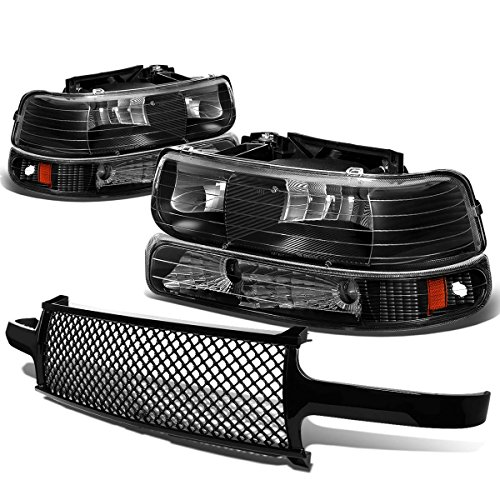 For Chevy SIlverado/Suburban/Tahoe Pair of Black Housing Amber Corner Headlight+Black Meshed Front Grille (2002 Silverado Grill)