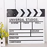 2Pcs Professional Vintage Wooden TV Movie Film Clap Board Slate Cut Prop Director Clapper Clapboard Slateboard, 12''x 11''/30cm x 27cm(White)