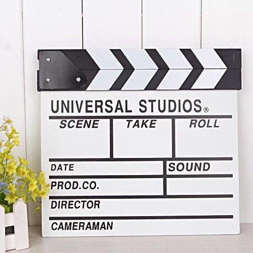 2Pcs Professional Vintage Wooden TV Movie Film Clap Board Slate Cut Prop Director Clapper Clapboard Slateboard, 12''x 11''/30cm x 27cm(White)