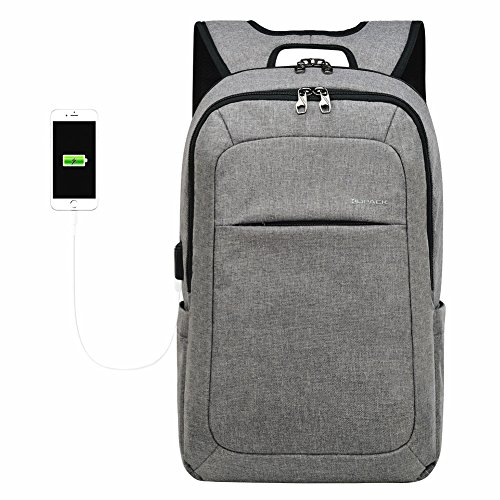 (Kopack Slim Laptop Backpacks Anti Thief Tear Water Resistant Business Computer Bag 15 15.6 inch Gray)