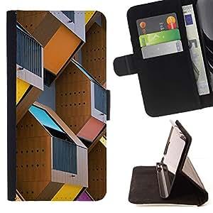For Samsung Galaxy J3(2016) J320F J320P J320M J320Y Case , Construcción de la Ciudad de la construcción de Ciudad- la tarjeta de Crédito Slots PU Funda de cuero Monedero caso cubierta de piel