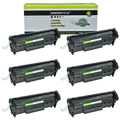 Laserjet 1010 Series - GREENCYCLE 6 Pack Replacement High Yield Black Q2612A 12A Toner Cartridges Compatible for HP 1010 1012 1015 1018 1020 1022 1022n 1022nw 3015 M1005 M1319F Series Laserjet Printer