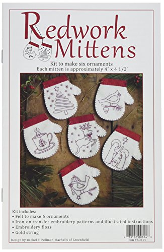 Redwork Kitchen - Rachel's of Greenfield Redwork Mittens Ornmanet Kit, 4-Inch x 4.5-Inch