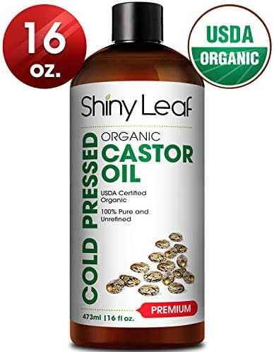 Castor Oil For Hair Growth, Eyelashes (16oz) USDA Organic, 100% Pure, Hexane Free, Cold Pressed, Prevents Hair Breakage & Fall, Natural Moisturizer