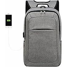 KOPACK Slim Business Laptop Backpack USB Anti Thief/Tear Water Resistant Travel Computer Backpack 15.6 / 17Inch 5Color Magenta/Black/Grey/Purple