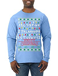 Stranger Things Lights | Merry Christmas | Mens Ugly Christmas Long Sleeve Tee Graphic T-Shirt