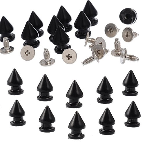 RUBYCA 12MM 50 Sets Metal Tree Spikes and Studs Metallic Screw-Back for DIY Punk Leather-craft Black