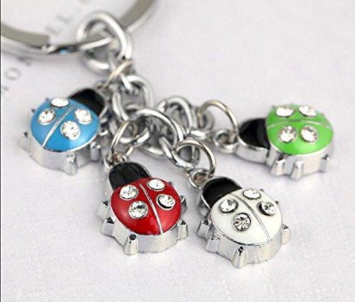 Z358-D Cute Colorful Ladybug Charms Keychain Key Ring - Ladybug Key Ring Keychain