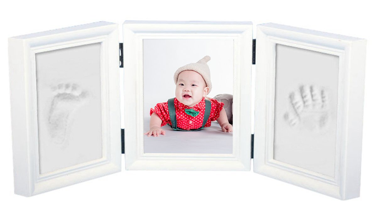 Baby Footprint Kit,A Best for Newborn Girls and Boys ,Baby Hand and Footprint Kit, Wooden Photo Frame,Memorable Keepsake Feiyar