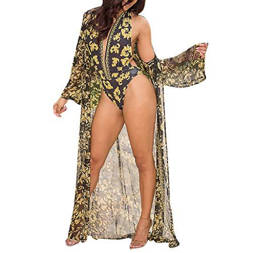 (BBesty Swimwear for Women One-Pieces Deep V-Neck Flower Print Halter Backless Bikini Swimsuit Beachwear Black)