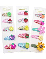 HEYUS 15 Pcs Girls Hair Clips Sparkle Fruit Transparent Quicksand Hairpins PVC Colorful Sweet Barrette Hair Accessories for Children