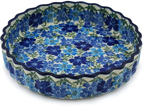 Polish Pottery 7¾-inch Fluted Pie Dish made by Ceramika Artystyczna (Fields Of Blue Theme) Signature UNIKAT + Certificate of Authenticity