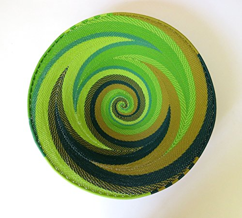African Zulu woven telephone wire bowl – Large shallow bowl - Green - Gift from Africa by Gone Rural - Safari Curios