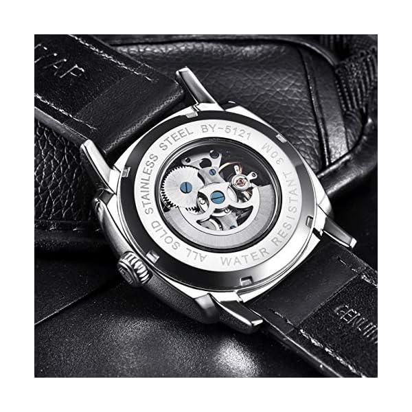 BENYAR – Montre Automatique au Poignet pour Homme | Bracelet en Cuir | Cadran Squelette de 45 mm | Résistant à l'eau et…