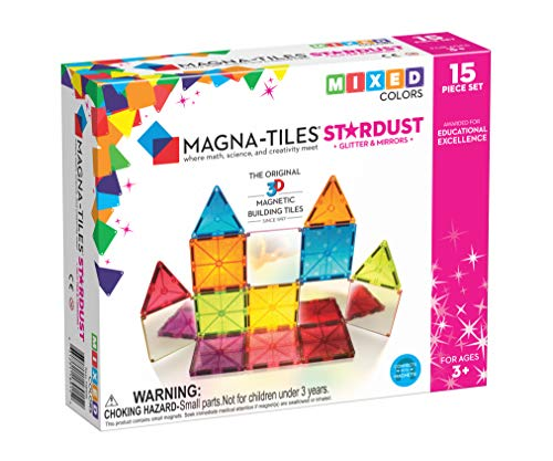 Magna-Tiles 15Piece Stardust Set, The Original, Award-Winning Magnetic Building Tiles, Creativity & Educational, Stem Approved, Glitter & Mirrors (Pack of 15) ()