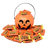 Halloween Candy Gift Orange Bucket with Reese's Peanut Butter Cups Milk Chocolate Candies, 2.5 Lbs