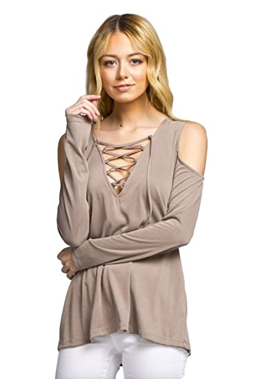 216dd70d3be27 Cherish Women s Long Sleeve Top with Lace-up Neckline and Cold Shoulders at  Amazon Women s Clothing store