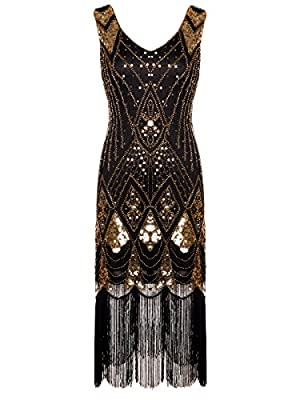 FAIRY COUPLE 1920s Gatsby Sequined Embellished Tassels Hem Flapper Dress D20S014