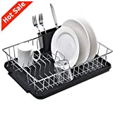 POPILION Quality Steel Kitchen Sink Side Dish Drying Rack,Drain Rack Set(3-Piece) with Black Drainboard and Separate Box For Cutlery