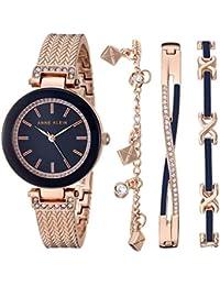 Women's Swarovski Crystal Accented Rose Gold-Tone Bangle Watch with Bracelet Set, AK/3394NRST