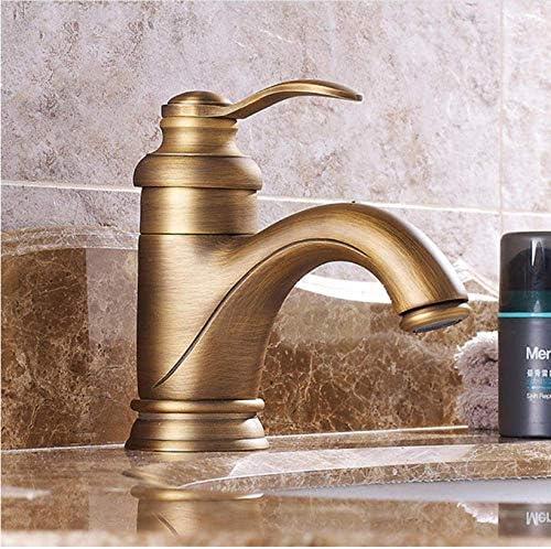 ゆば 流域水栓アンティークブラスバスルームシンク蛇口シングルハンドルデッキはバースウォッシュホットコールドミキサー水タップWCタップをマウント