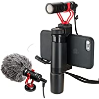 Ulanzi Smartphone Video Rig with Shotgun Microphone, Grip Handle, Wrist Strap Video Stabilizers F-mount + BOYA BY-MM1 Youtube Live Stream for iPhone X, 8, 7, 6, 6S 5 5 Samsung Galaxy Huawei Xiaomi