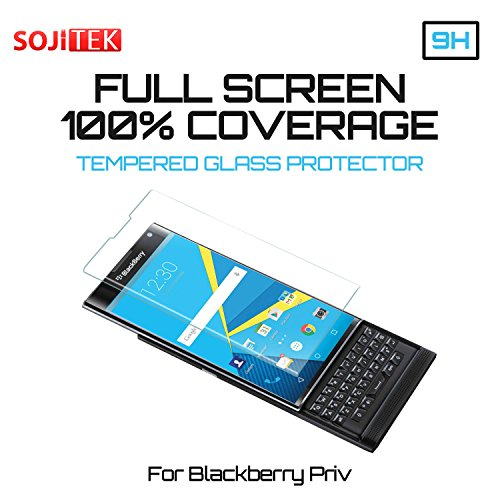 SOJITEK BlackBerry Android PRIV 100% 3D Full Screen Coverage Including Curved Edge Clear Color Premium Ballistic Tempered Glass Screen Protector - High Clarity&Touchscreen Accuracy Smart Film (1 Pack) by Sojitek