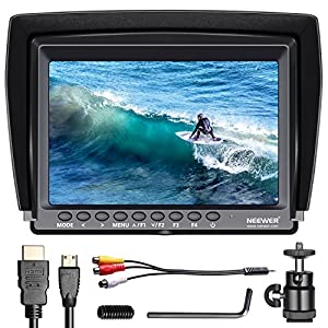 Neewer F100 7-inch 1280x800 IPS Screen Camera Field Monitor support 4k input with HDMI Cable for BMPCC,AV Cable for FPV, 16:10 or 4:3 Adjustable Display Ratio for DSLR/Camcorder(Battery NOT included)