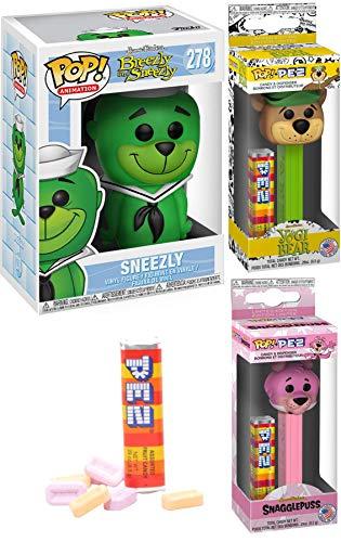 Seal of Fun Retro Pop Cartoon Characters Breezly Green Sneezly #278 Vinyl Figure Bundled with Pop! Pez Yogi Bear & Snagglepuss Hanna-Barbera Dispenser Classic Toons 3 Items
