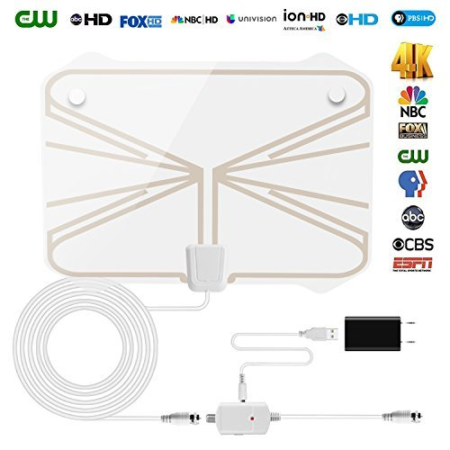 [2018 Newest] Skywire TV Antenna for Digital TV Indoor 60-80 Miles Range Clearview HDTV Antenna 1080P 4K with Amplifier Signal Booster 16 Ft Coaxial Cable (Transparent)