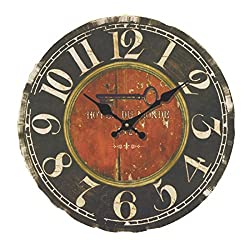 Wood Wall Clock, PeleusTech 14 Inch Hotel Du Monde Vintage Silent Wooden Wall Clock Home Decoration - Style 2